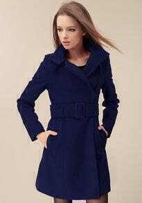 Navy Wide Lapel Belt Oblique Zipper Wool-blend Coat