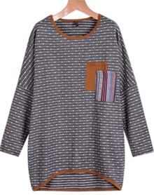 Grey Long Sleeve Striped Pockets Sweater
