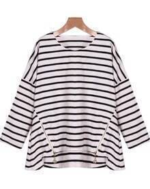 Black White Long Sleeve Striped Zipper Blouse