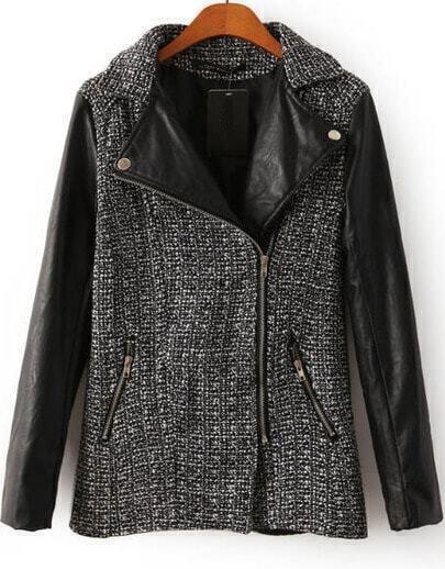 Black Contrast PU Leather Long Sleeve Zipper Coat