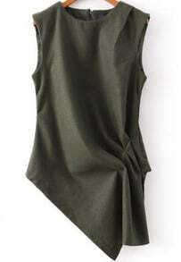 Green Round Neck Sleeveless Asymmetrical Blouse