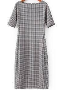 Black White Short Sleeve Houndstooth Dress