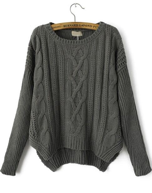 Grey Long Sleeve Loose Cable Knit Sweater -SheIn(Sheinside)