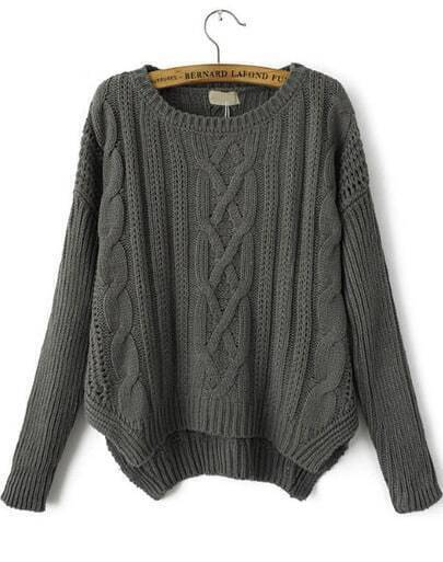 Grey Long Sleeve Loose Cable Knit Sweater