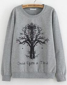 Grey Long Sleeve Tree Print Loose Sweatshirt