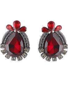 Red Drop Gemstone Silver Stud Earrings