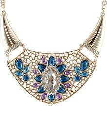 Blue Gemstone Gold Collar Necklace