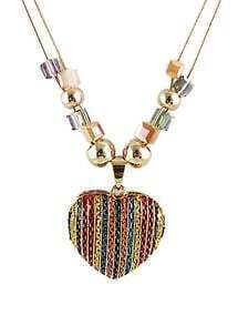 Multicolor Chain Heart Bead Necklace