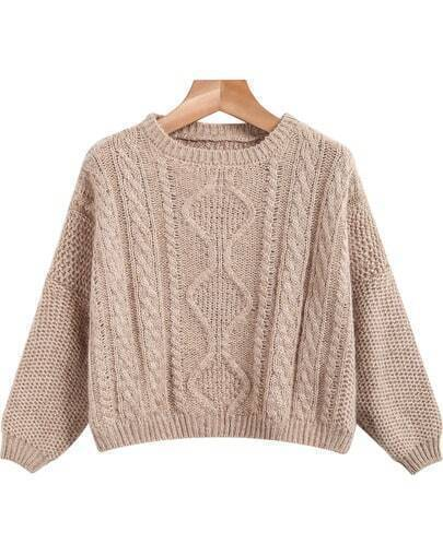 Khaki Long Sleeve Crop Cable Knit Sweater