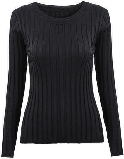 Black Long Sleeve Slim Knit Sweater