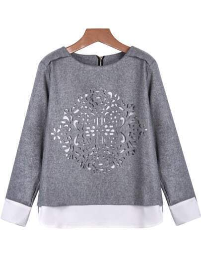 Grey Long Sleeve Hollow Loose Blouse