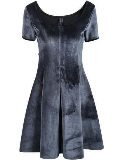 Grey Scoop Neck Short Sleeve Dress