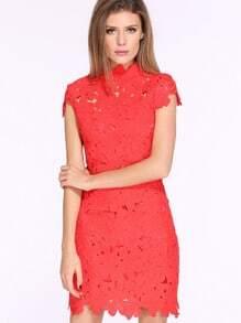 Red Cap Sleeve Crochet Lace Zipper Dress