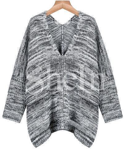 Grey Long Sleeve V Neck Loose Sweater