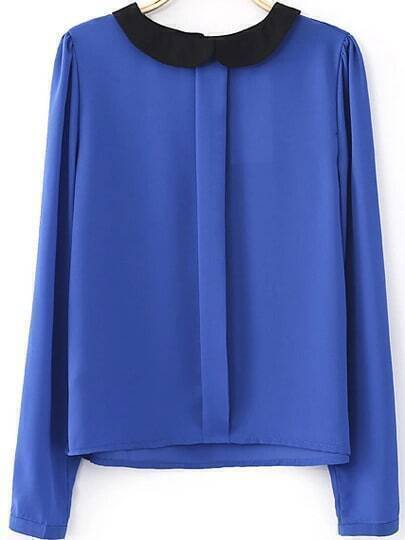 Blue Contrast Collar Long Sleeve Blouse