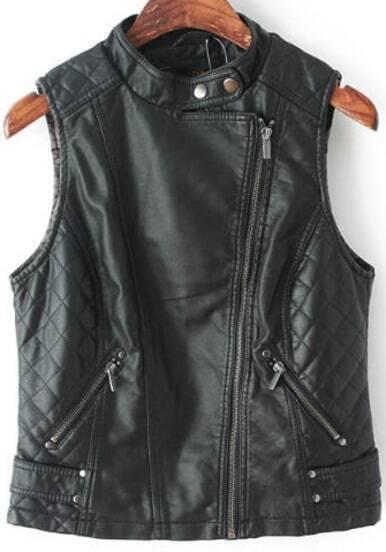 Black Sleeveless Diamond Patterned PU Jacket