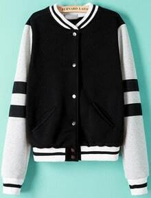 Black Long Sleeve Striped Crop Jacket