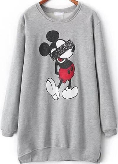 Sudadera suelta Mickey manga larga-gris