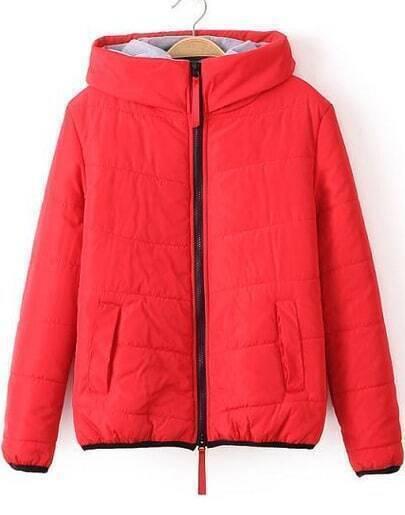 Red Hooded Long Sleeve Slim Pockets Coat