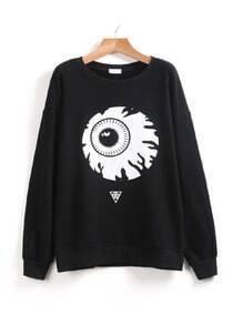 Black Long Sleeve Eye Print Loose Sweatshirt
