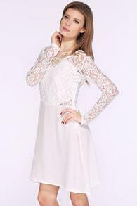 White Long Sleeve Backless Bow Lace Dress