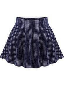 Blue Polka Dot Flare Skirt