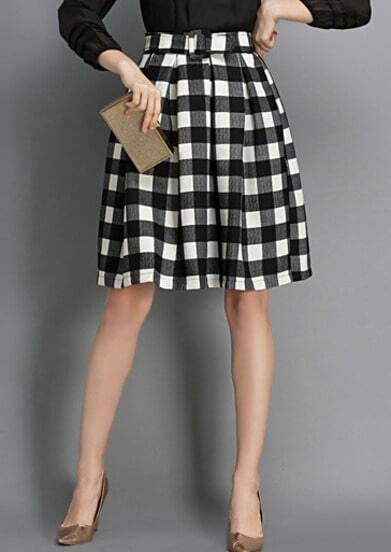 Black White Plaid Flare Skirt