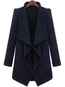 Blue Lapel Long Sleeve Belt Woolen Coat
