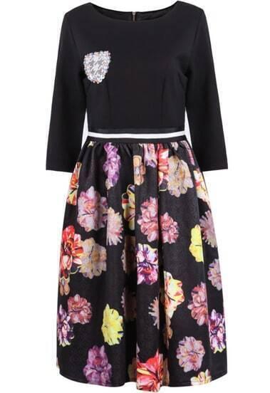 Black Long Sleeve Badge Floral Dress