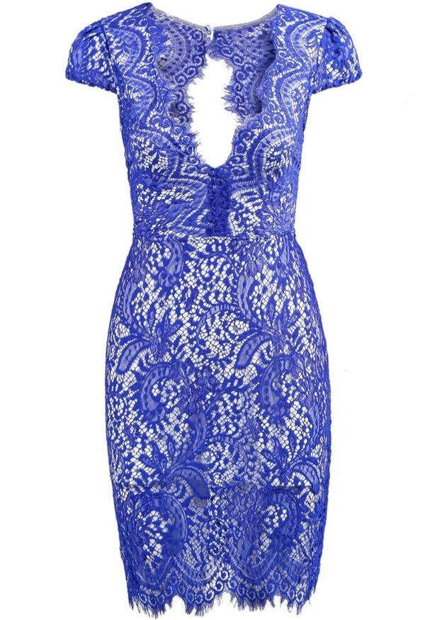 Blue V-Neck Lace Dress