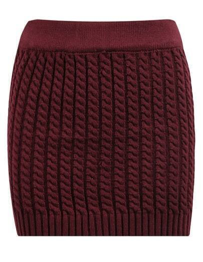 Wine Red Cable Knit Bodycon Mini Skirt