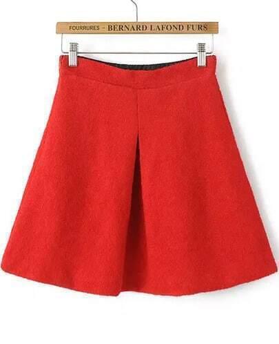 Red High Waist Flare Woolen Skirt