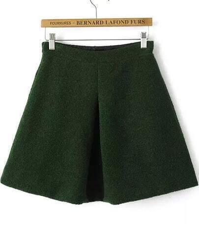 Green High Waist Flare Woolen Skirt