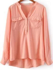 Orange V Neck Long Sleeve Pockets Blouse