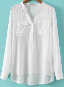 White V Neck Long Sleeve Pockets Blouse