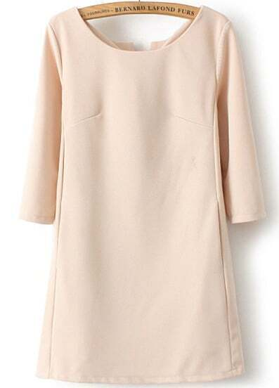 Apricot Long Sleeve Split Loose Dress