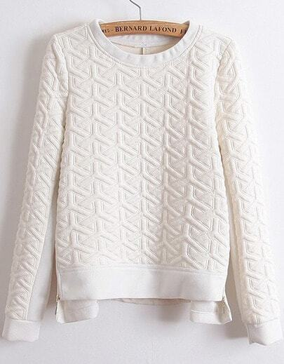 White Long Sleeve Zipper Jacquard Sweatshirt