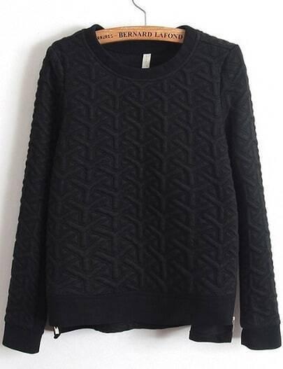 Black Long Sleeve Zipper Jacquard Sweatshirt