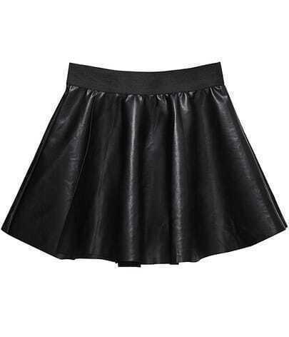 Black Zipper Pleated PU Skirt