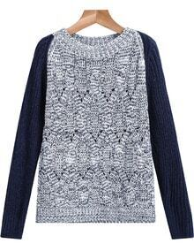 Grey Contrast Blue Long Sleeve Knit Sweater