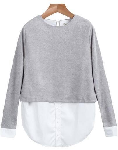 Grey Round Neck Long Sleeve Loose Blouse
