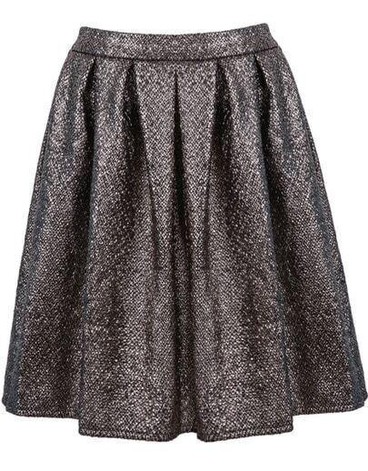 Silver High Waist Pleated Skirt