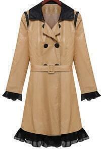 Khaki Long Sleeve Belt Slim PU Coat