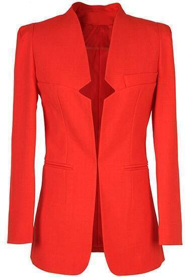 Red Stand Collar Long Sleeve Fitted Blazer