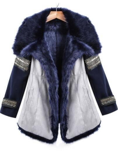 Abrigo piel sintético manga larga-azul