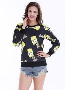 Black Long Sleeve Simpson Print Sweatshirt