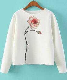 White Long Sleeve Rose Print Sweatshirt