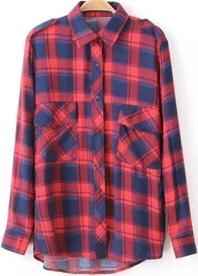 Red Lapel Long Sleeve Pockets Loose Blouse