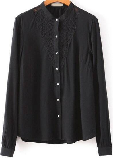 Black Long Sleeve Lace Loose Blouse