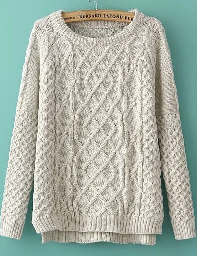 White Long Sleeve Diamond Patterned Knit Sweater